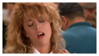 Sally, alias Meg Ryan, simule un orgasme  table