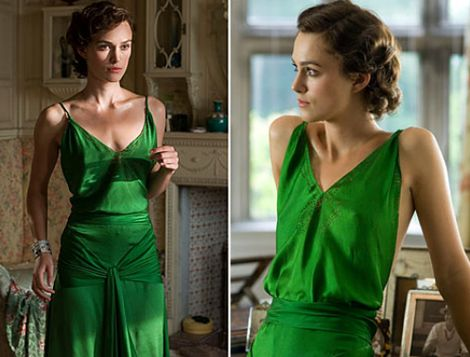 Keira Knightley, green dress, robe en soie verte, reviens-moi, jacqueline durran, Atonement